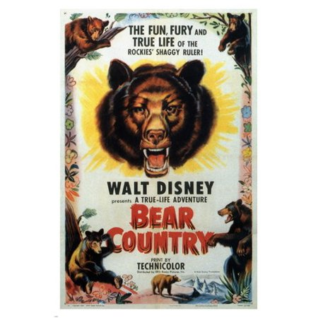 Antique Vintage Bears (James Algar'S Bear Country Vintage Movie Poster Walt Disney Kids 1953 24X36 )