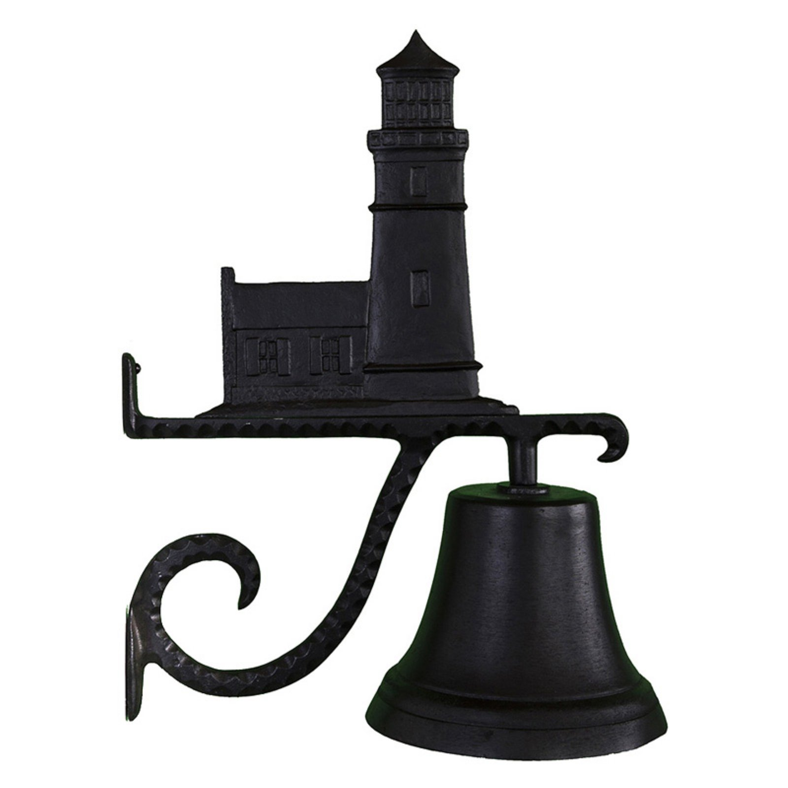 Cast Bell with Black Cottage Lighthouse Ornament