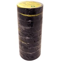 """Premium All Weather 8 mil Black Electrical Tape 3/4"""" x 66 ft Roll (10 Pack)"""