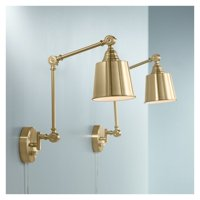 360 Lighting Modern Swing Arm Wall Lamps Set of 2 Antique Brass Plug-In Light Fixture Adjustable Metal Shade for Bedroom Reading