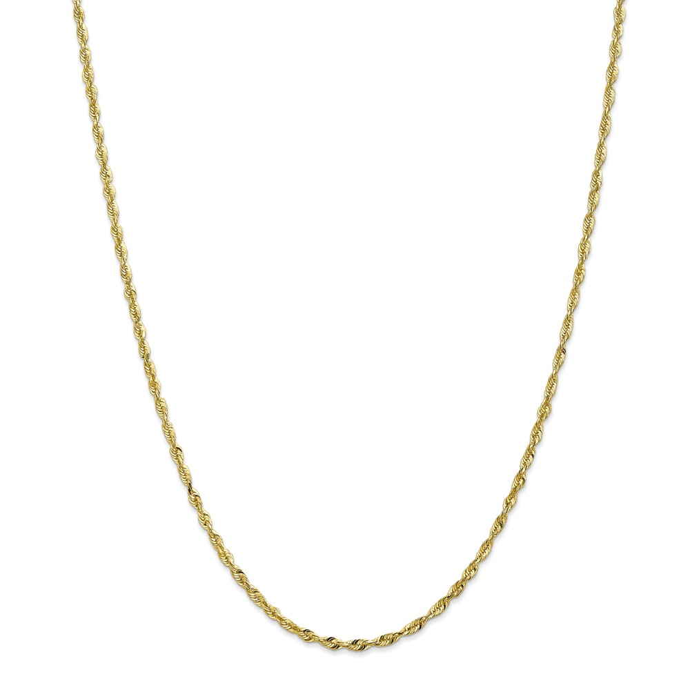 10k Yellow Gold 30in 2.55mm D/C Extra-Lite Rope Necklace Chain