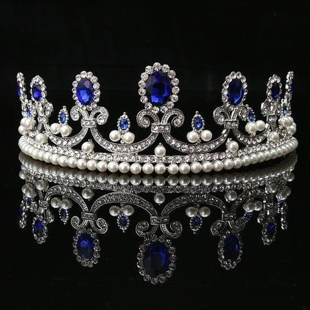 Meigar Blue Crystal Rhinestone Bridal Tiara Princess Pearls Crown Wedding Prom Headband - image 6 de 6