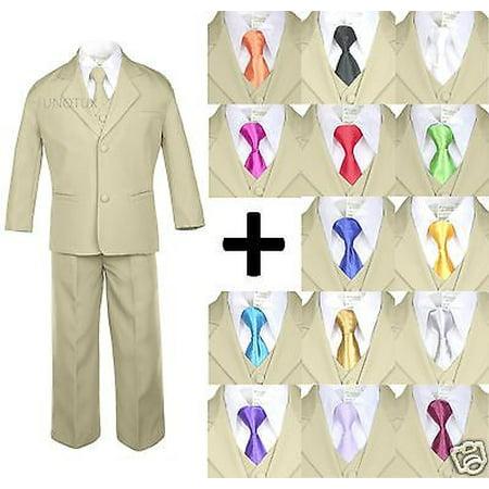 6pc Boy Kid Teen Formal Wedding Khaki Stone Suit Tuxedo Extra Satin Necktie - Bright Orange Tuxedo