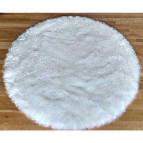Homeworx Faux Fur Sheepskin Shag Area Rug White (5'x5