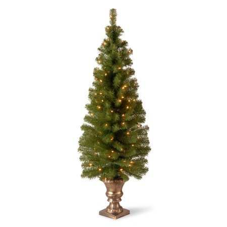 "National Tree Pre-Lit 5' Montclair Spruce Entrance Artificial Christmas Tree in 12"" Black/Gold Plastic Pot with 100 Clear Lights"