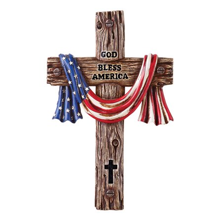 God Bless America Hand-Painted Cross with Draped Flag Hand-Painted Wall Décor, Hood Attached for Easy Hanging (Obama God Bless America)
