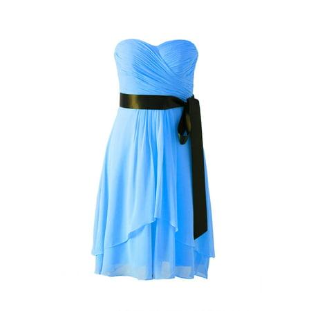 Faship Womens Elegant Pleated Sweetheart Neckline Short Formal Dress - 14,Malibu
