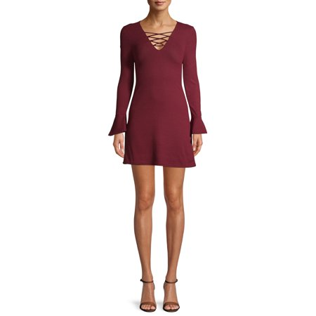New Look Juniors' Long sleeve Dress with Criss Cross Front Tie