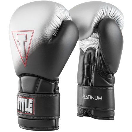Title Boxing Platinum Proclaim Hook and Loop Training Gloves - Black/Silver](Hoof Gloves)