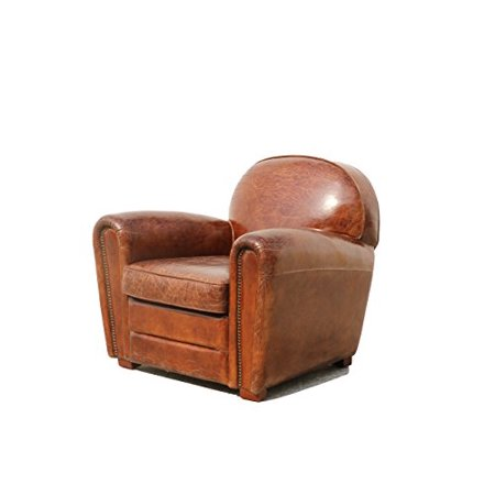 Pasargad Paris Club Chair Genuine Top Grain - Top Full Grain Leather Chair