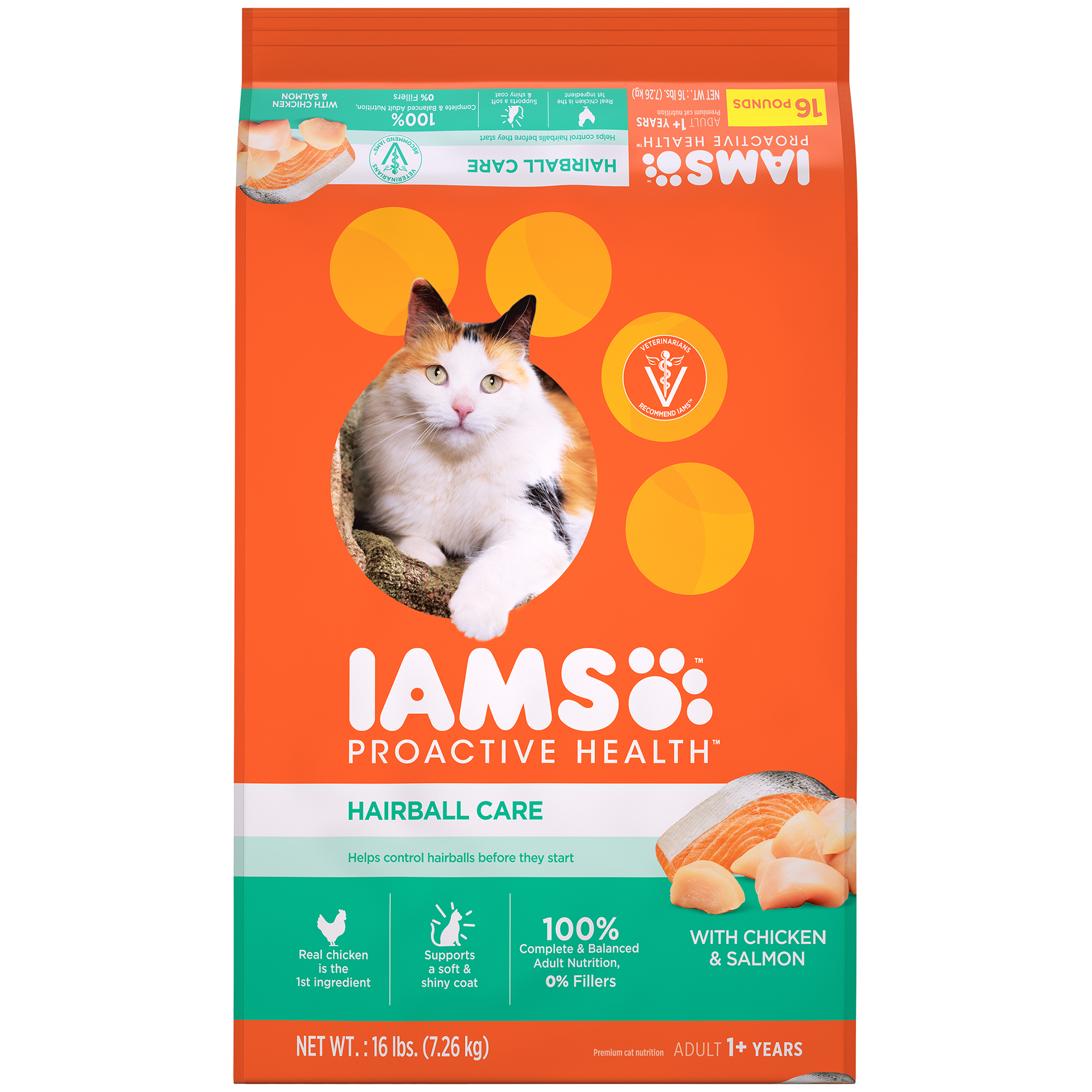 Iams Proactive Health Adult Hairball Care with Chicken & Salmon Dry Cat Food, 16 lb