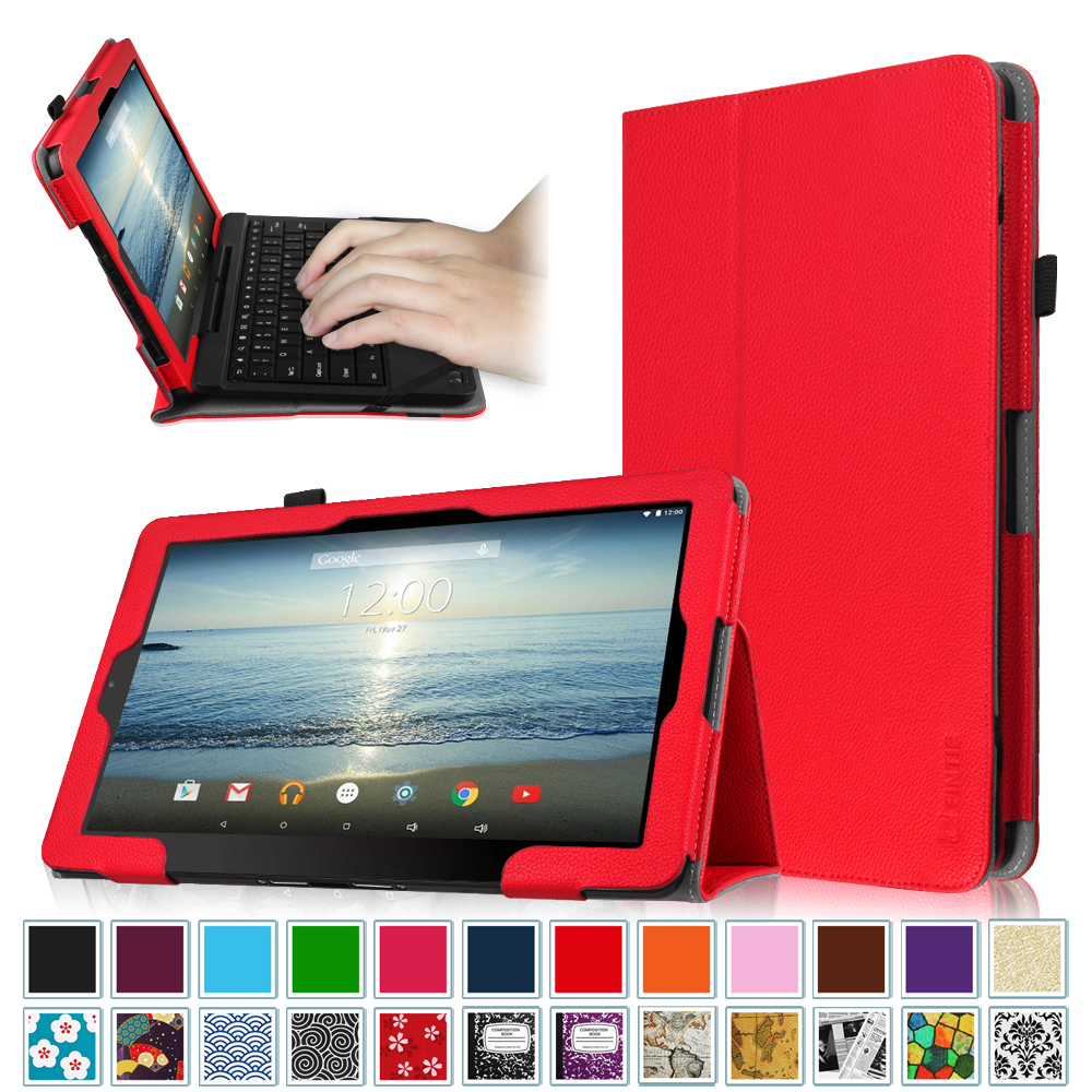 "Fintie RCA 10 Viking Pro / Viking II Case - Vegan Leather Cover for RCA Viking Pro Viking II 10.1"" Tablet, Red"