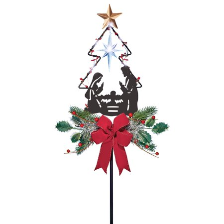 Solar Lighted Nativity Star and Christmas Tree Garden Stake Decoration