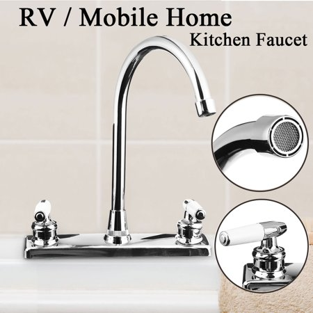 Double Switch Dual mixertap Holes Bathroom Hot Cold Water Mixer Tap Kitchen Sink Faucet for RV Mobile Home Kitchen