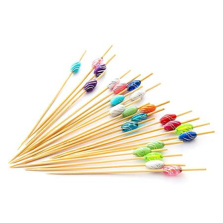 "PuTwo Cocktail Picks Bamboo Handmade Appetizer Toothpicks Sticks 4.7"" 100ct Multicolor Crystal"