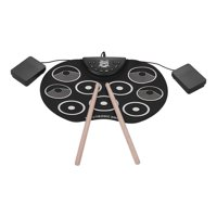 Portable Size Roll-Up Drum Set Electronic Drum Kit 9 Silicon Drum Pads USB/Battery Powered with Drumsticks Foot Pedals for Children