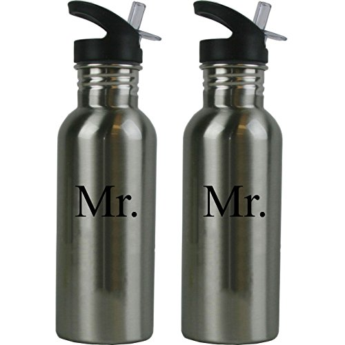 Mr. and Mr. Stainless Steel Water Bottle Wedding Set with Straw Flip Tops 20 Ounce 600ml Sport Water Bottles