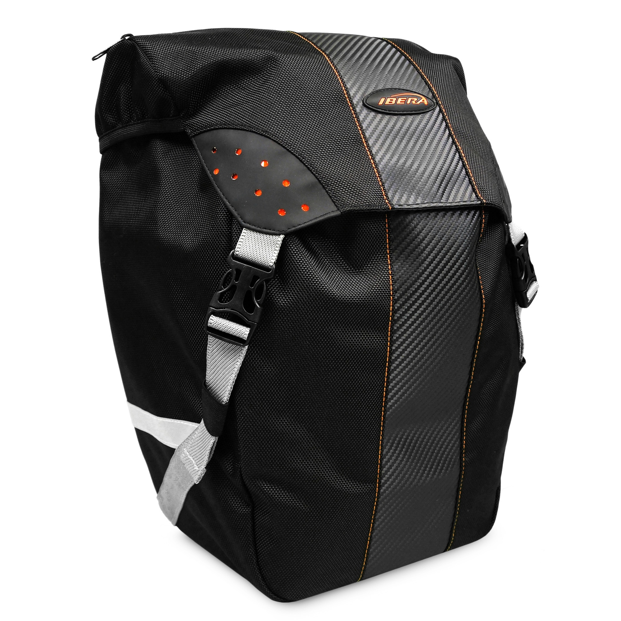 Ibera USA Ibera Bike PakRak All-Weather Single Pannier with Rain Cover, Clip-On and Quick-Release