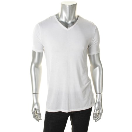 calvin klein men's body modal short sleeve v neck t-shirt, white, small
