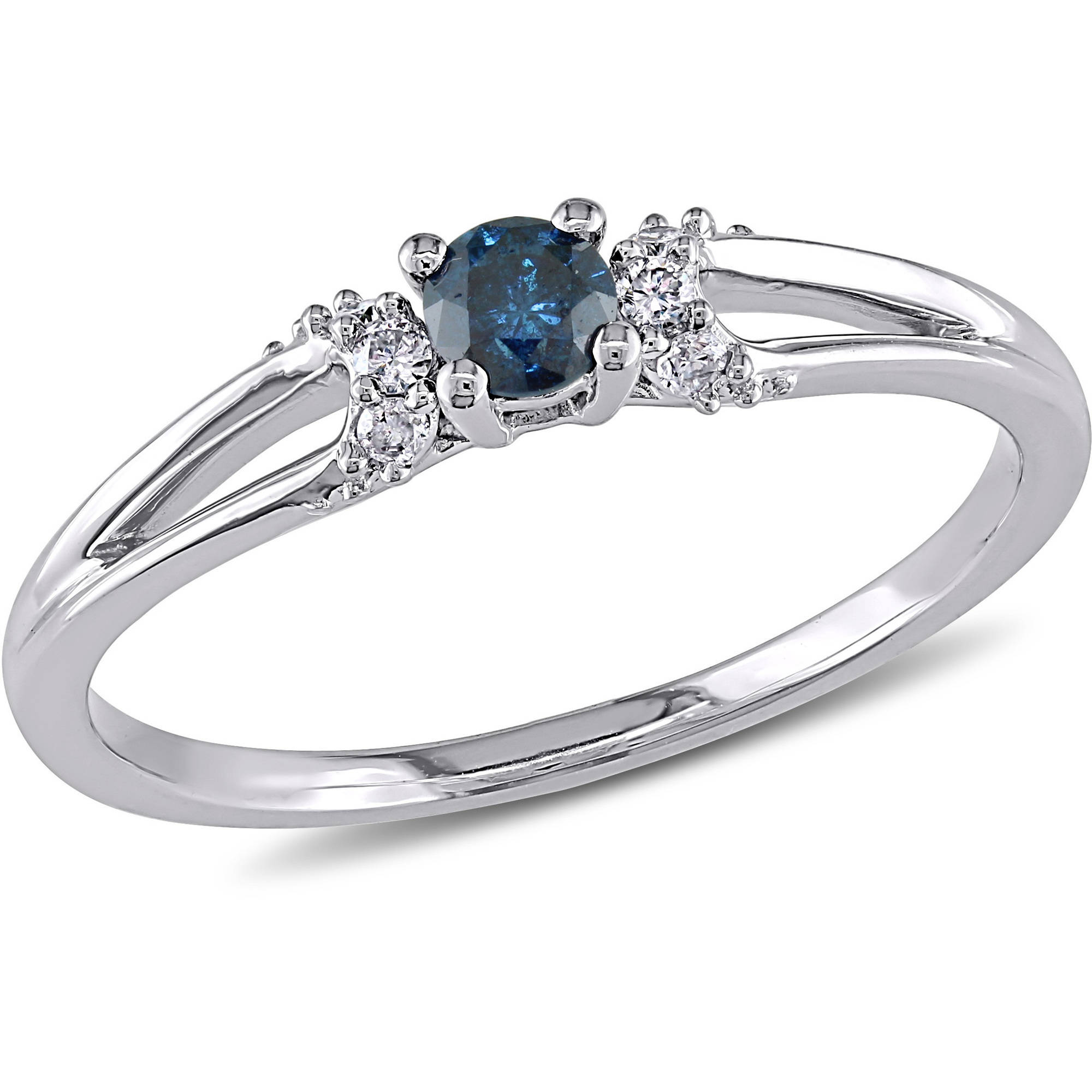 1 5 Carat T.W. Blue and White Diamond 10kt White Gold Engagement Ring by Delmar Manufacturing LLC