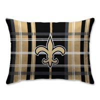 New Orleans Saints Plaid Plush Sherpa Bed Pillow - Black
