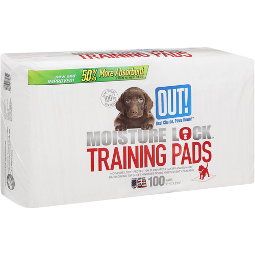 OUT! Moisture Lock Training Pads, 100 ct