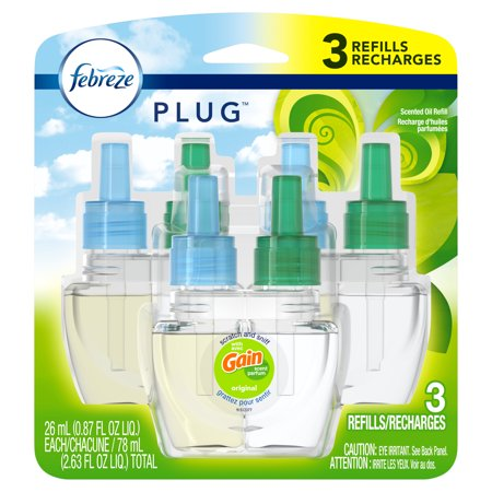 Febreze Plug Air Freshener Scented Oil Refill, Gain Original Scent, 3 count Waves Plug Ins