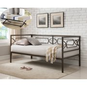 vegas pewter twin size metal day bed frame with black pop up high riser trundle