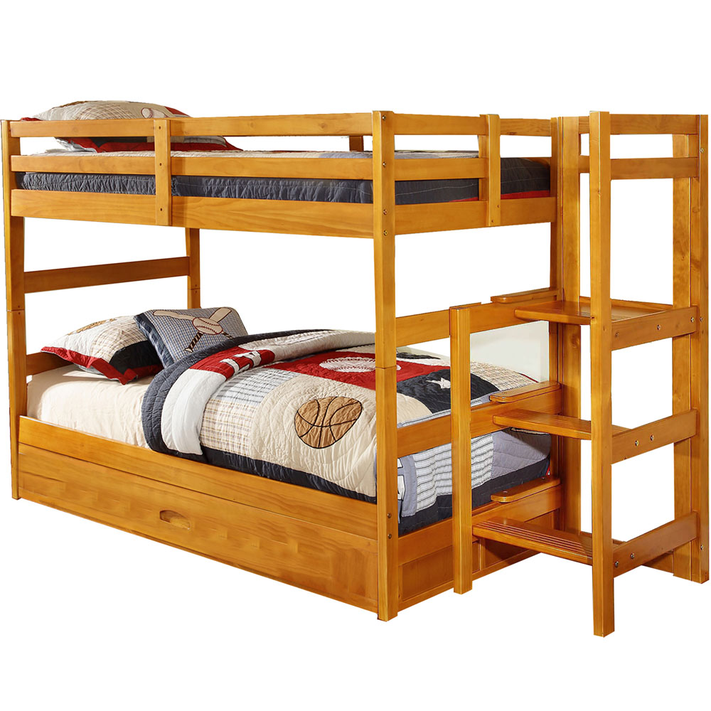 Cambridge Franklin Twin-Over-Twin Easy Step Bunk Bed with Slide-Out Trundle