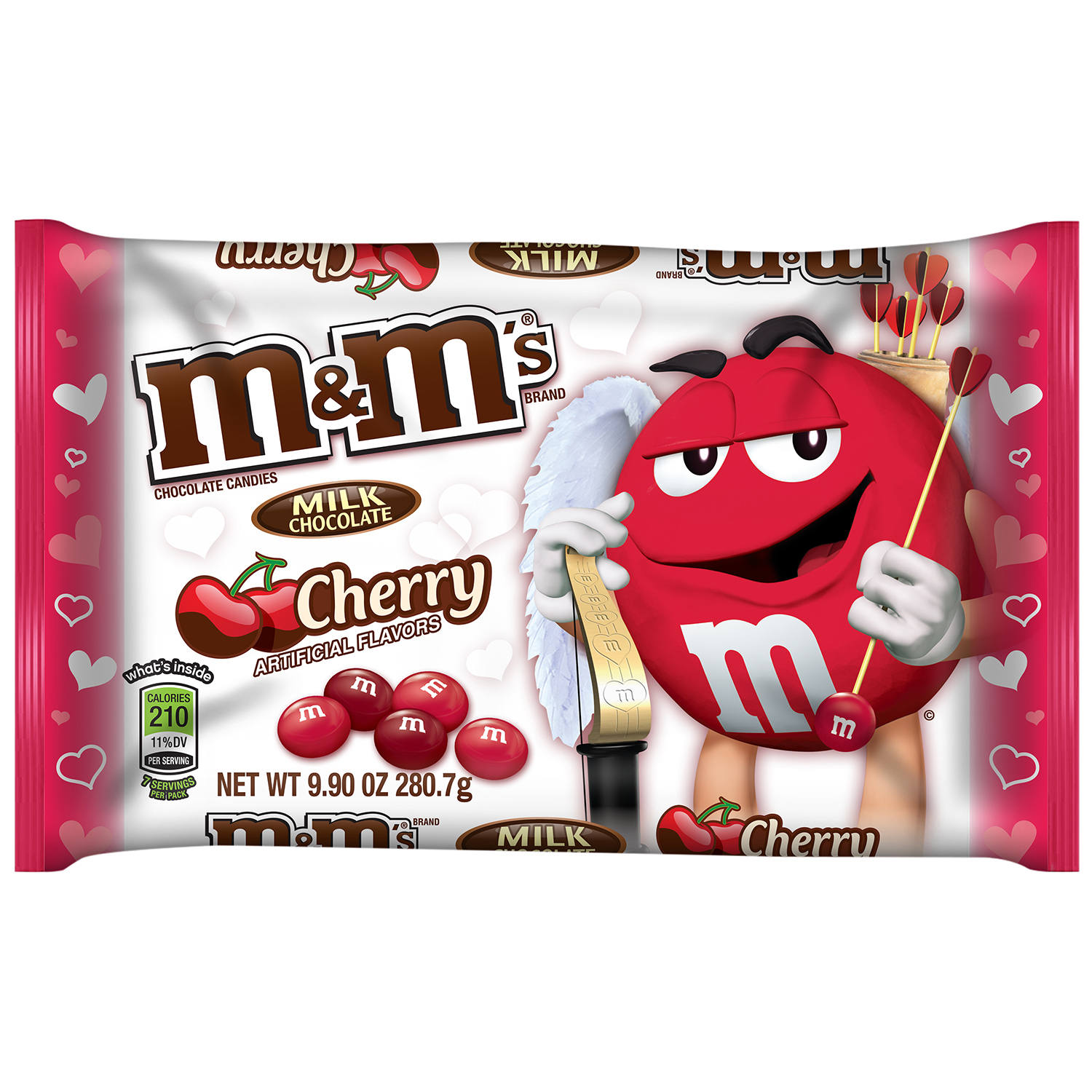 M&M'S Valentine's Cherry Chocolate Candy Bag, 9.9 oz