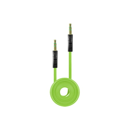 Tangle Free Flat Wire Car Audio Stereo Auxiliary Aux Cord Cable Adapter for Samsung Freeform 2 R360 R375C (Metro PCS, Net 10, Straighttalk) - Green