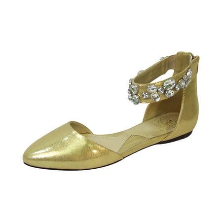 FUZZY Jill Women Wide Width Open Shank Decorative Crystal Elastic Ankle Strap Flats GOLD 11