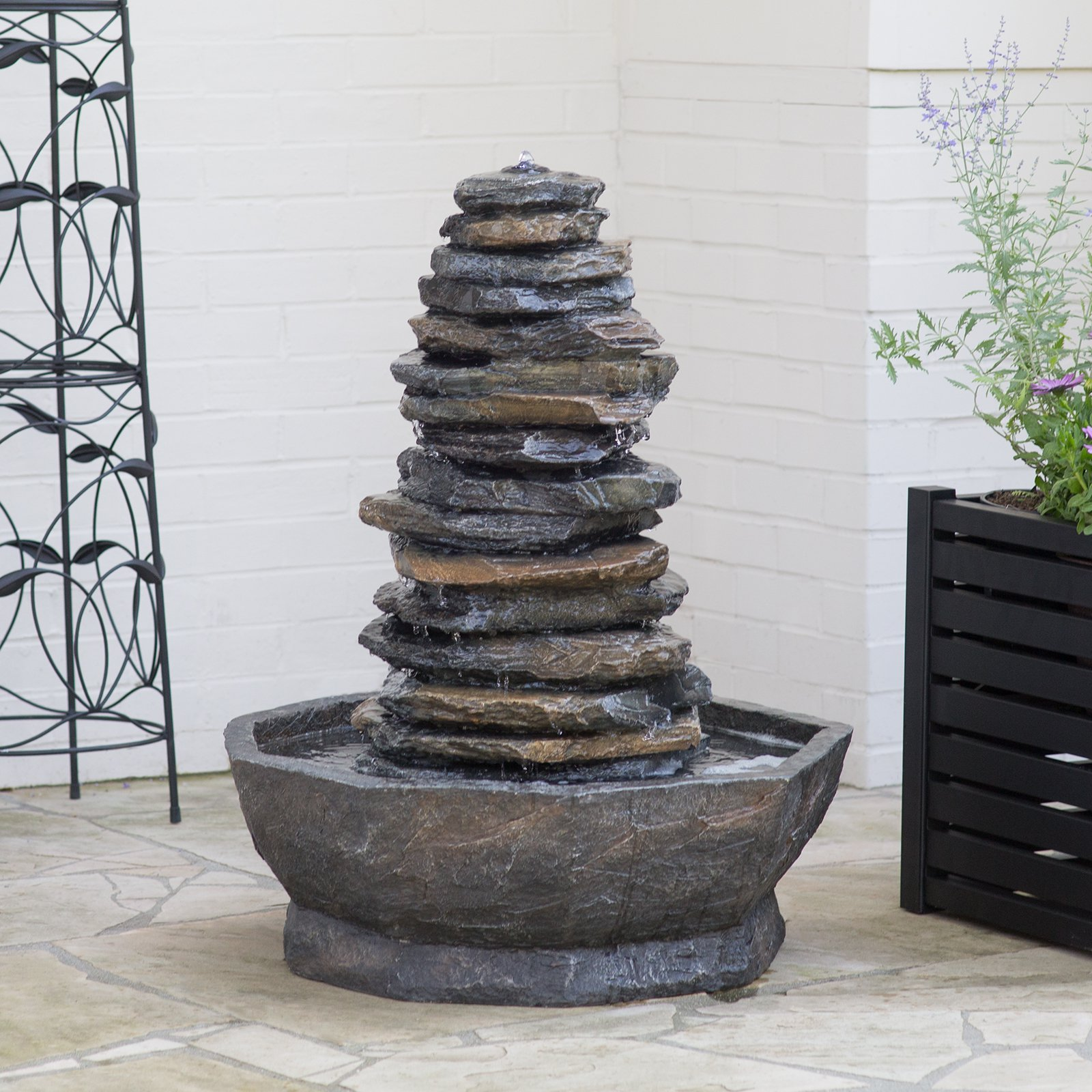 Alpine Corp 32-in. Tiering Rock Fountain with LED
