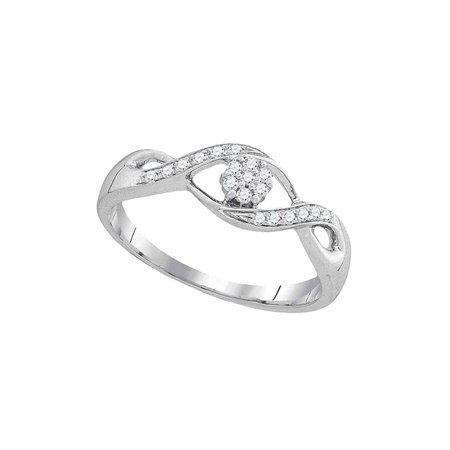 Cluster Twist - 10kt White Gold Womens Round Diamond Twist Flower Cluster Ring 1/8 Cttw