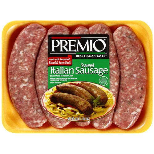 Premio Foods Inc.: Sweet w/Imported Fennel & Sweet Basil Italian Sausage, 20 Oz
