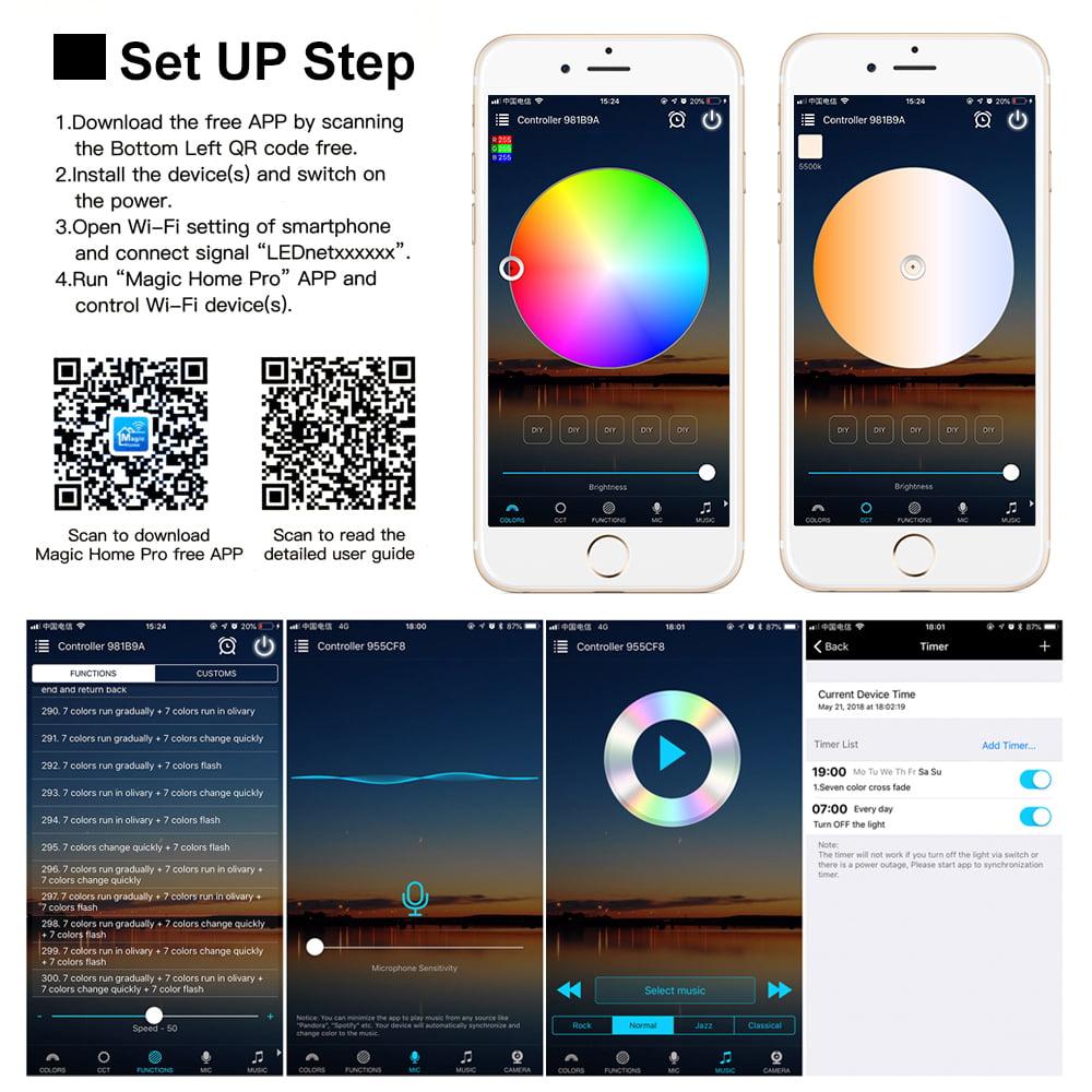 Meaddhome Mini Wifi Ws2811 Ws2812b Rgb Led Strip Light Controller Amazon Alexa Google Phone Smart Voice Ios Android App Control Walmart Com Walmart Com