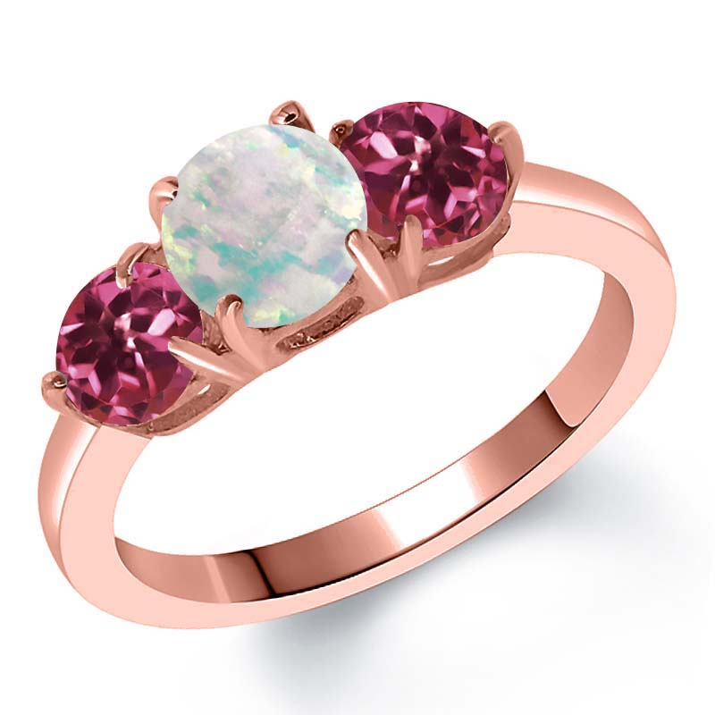 1.65 Ct Round Simulated Opal Pink Tourmaline 18K Rose Gold Plated Silver Ring by