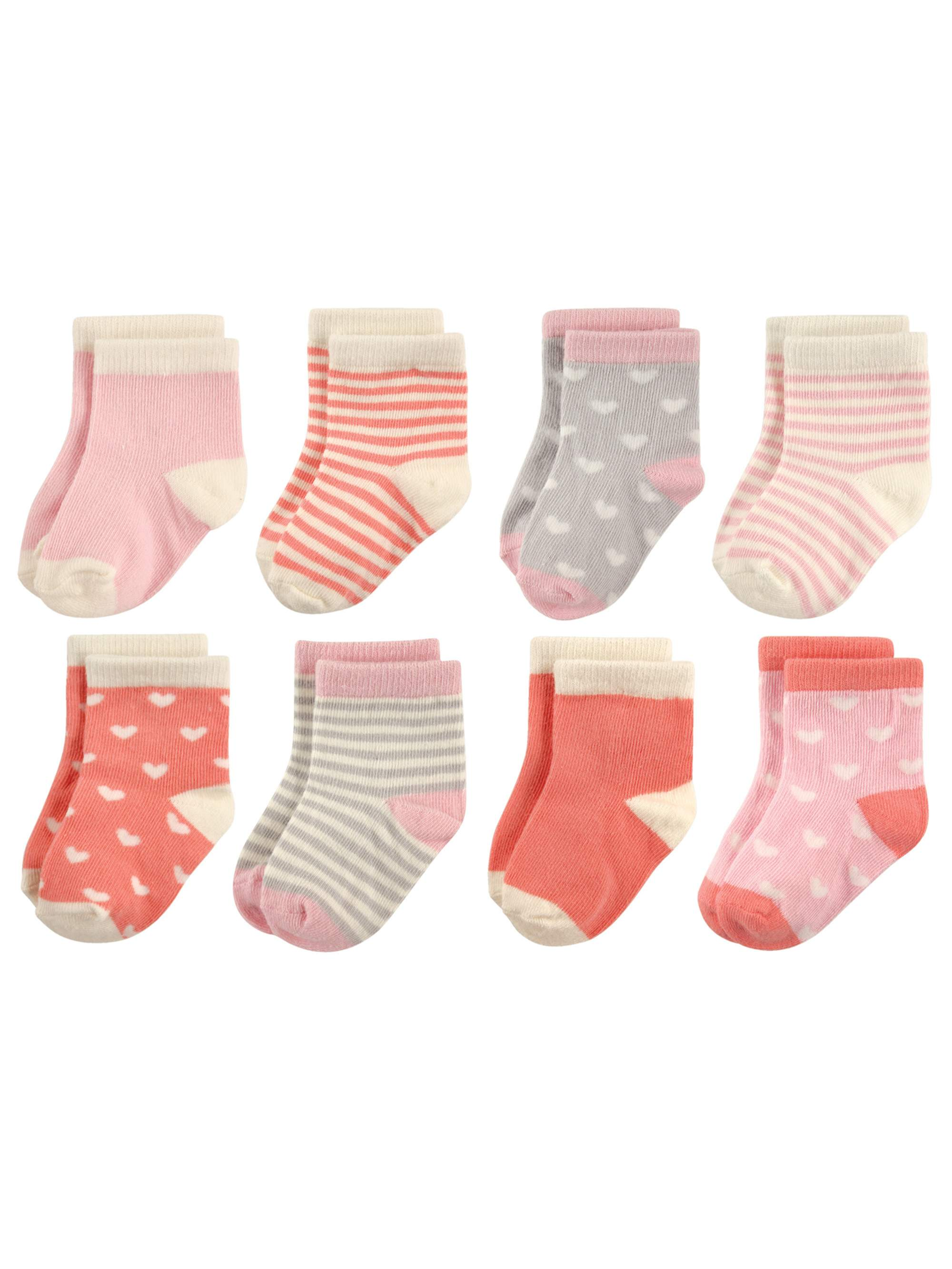 Patterned Crew Socks, 8-Pack (Baby Girls & Toddler Girls)