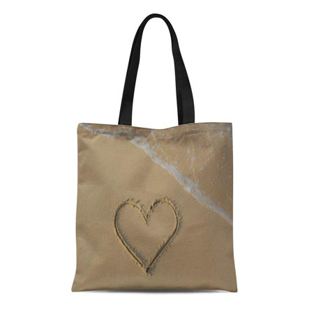 ASHLEIGH Canvas Tote Bag Yellow Heart Drawn Beach Sand Sea Foam and Wave Durable Reusable Shopping Shoulder Grocery Bag - Yellow Sand Beach