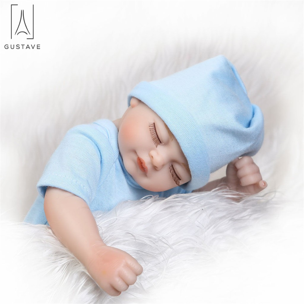 "GustaveDesign 10"" Realistic Reborn Baby Doll Realike Silicone Vinyl Newborn Close Eyes Doll for Toddler Gifts ""Blue"""
