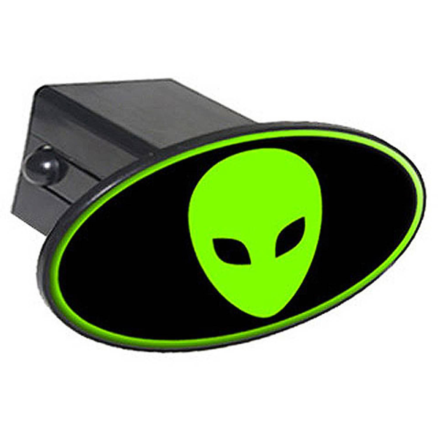 "Alien Head Green On Black 2"" Oval Tow Trailer Hitch Cover Plug Insert"