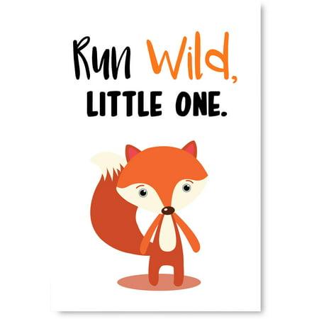 Awkward Styles Run Wild Kids Room Decor Birthday Gifts Nursery Room Decor Run Wild Little One Cute Fox Illustration Animals Poster Run Wild Quotes Fox Poster Artwork Unframed Poster for Children](Artwork For Kids)