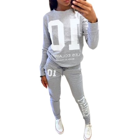 Women 2Pcs Tracksuit Pullover Sweatshirt Pants Set Casual Sport Wear Sweat Suit