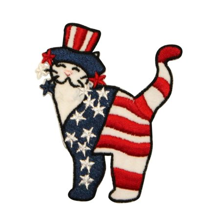 ID 1088 Patriotic Cat Patch American Flag Craft Embroidered Iron On (Applique Embroidered Flag)