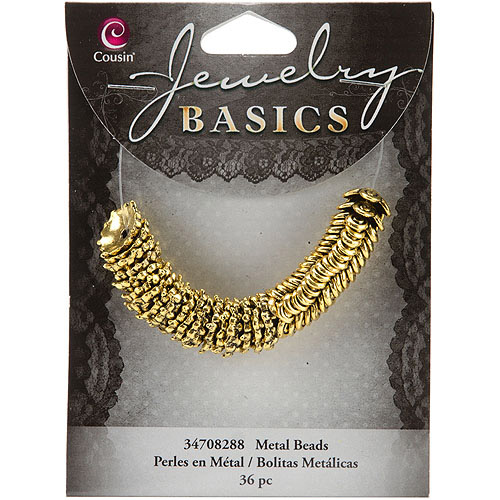Jewelry Basics Metal Beads, 11mm, 36pk, Gold Mixed Cap