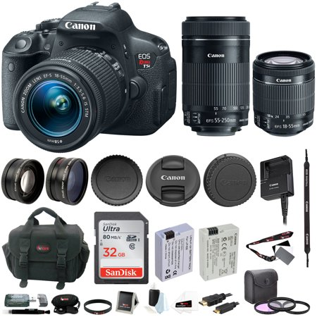 Canon EOS Rebel T5i DSLR Camera with 18-55mm f/3.5 and 55-250mm f/4-5.6 Lens Bundle (Black)