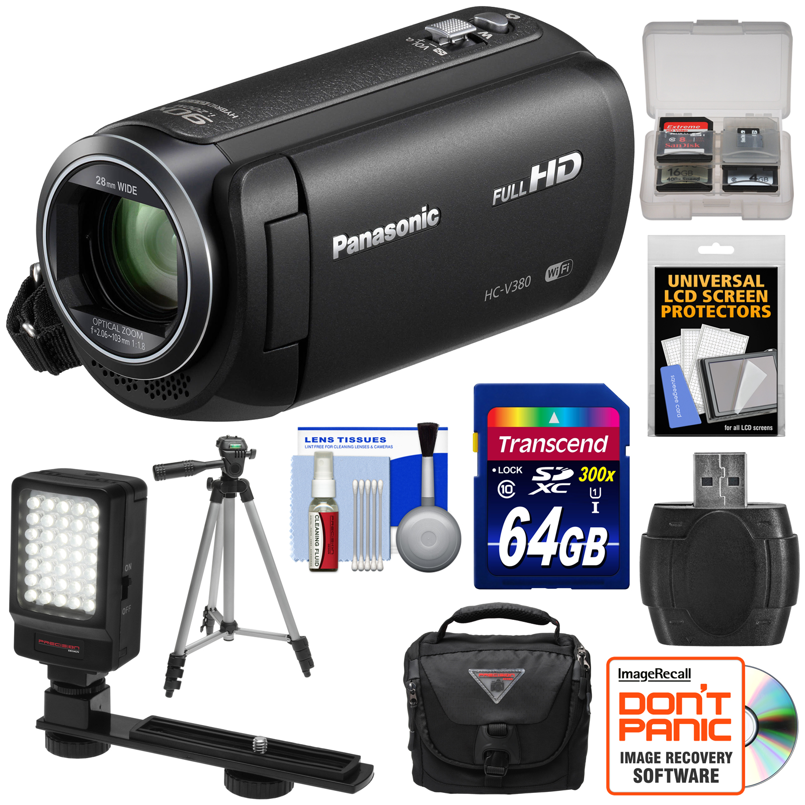 Panasonic HC - V380 Wi - Fi HD Video Camera Camcorder with 64GB Card + Case + Tripod + LED Light + Reader + Kit