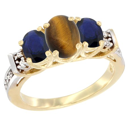 14K Yellow Gold Natural Tiger Eye & High Quality Blue Sapphire Ring 3-Stone Oval Diamond Accent, size 5.5