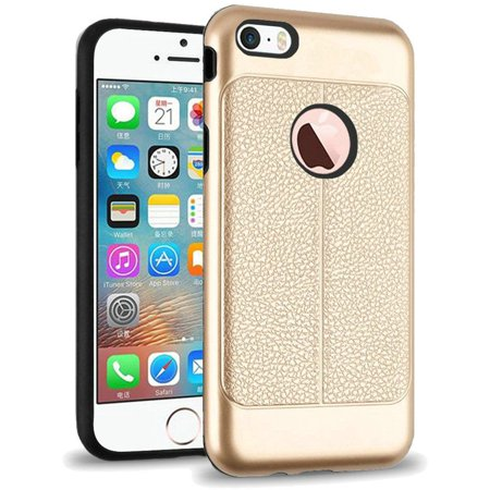 For Apple iPhone SE iPhone 5 iPhone 5S Leather Design Hybrid - Gold - Walmart.com