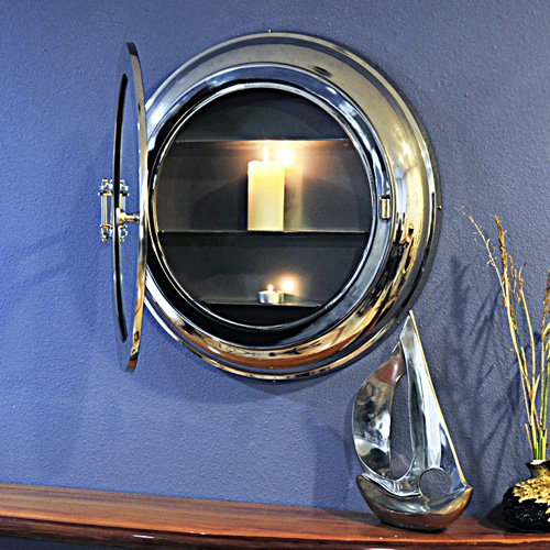 Old Modern Handicrafts Aluminum Wall Mirror with Storage by Overstock